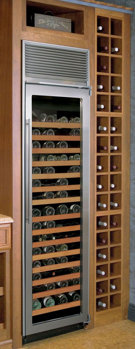I have wondered about this if anyone does this...it seems smart to have a wine fridge in there for white wines and champagnes, so you can store them to the correct temp...this looks ok, since its built into the wood racks, incorporated nicely...just a thought??...Wine cellars from Northland