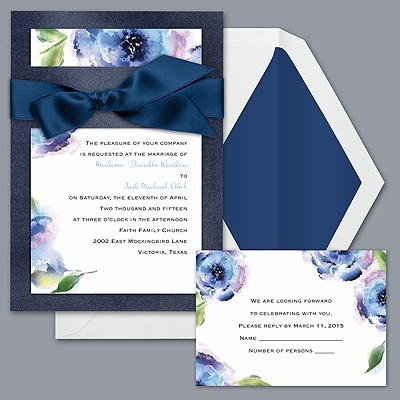 Treasured Jewels  Splendor - Blue & Sapphire Invitation - David's Bridal Invitations
