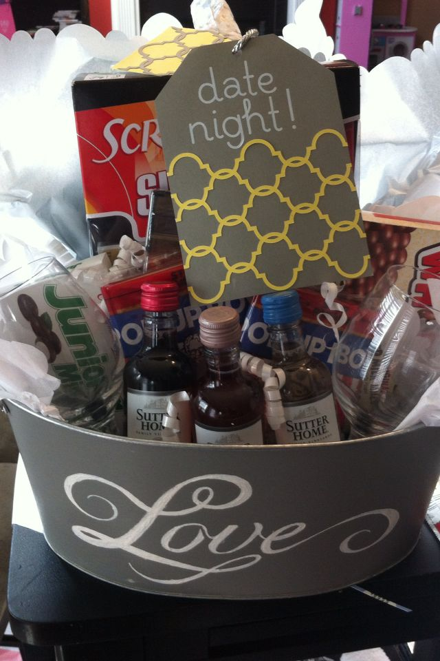 Bridal Shower Gift- Date Night. I put popcorn, date night the movie,  candies, wine, two glasses, scrabble game, and of course candles.