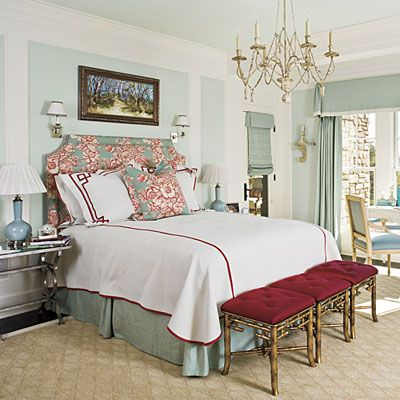 The pattern on the upholstered headboard served as inspiration for the color scheme in this room, and a unique chandelier lends an air of casual elegance.: Southern Living, Color Schemes, Decor Bedrooms, Master Bedrooms, Guest Rooms, Studios Couch, Upholstered Headboards, Bedrooms Decor Ideas,  Day Beds