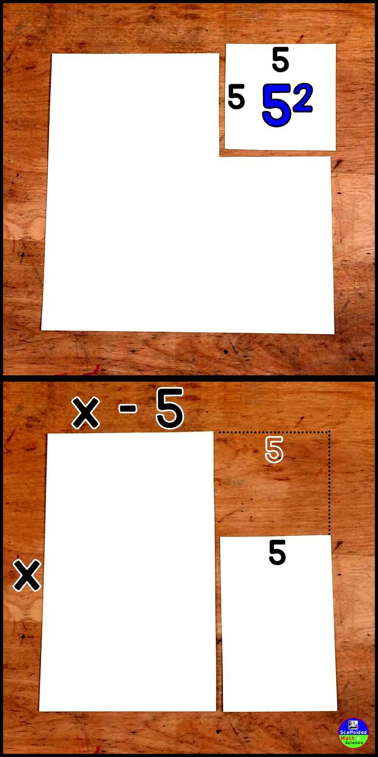 Here is a simple way to show factoring difference of squares through pictures. It's a great way to introduce factoring quadratics in Algebra in a concrete way or to review the concept in Algebra 2.
