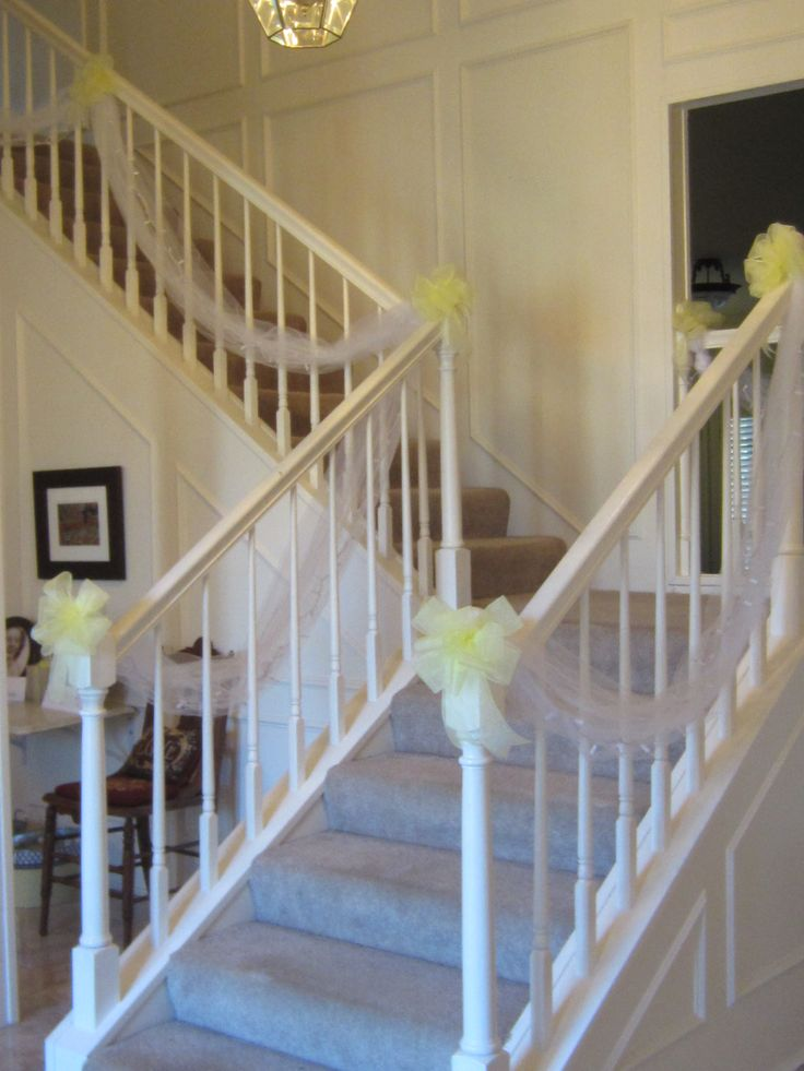 19 best staircase wedding possiblities images on pinterest tulle decorations on the stairs for the wedding junglespirit Images