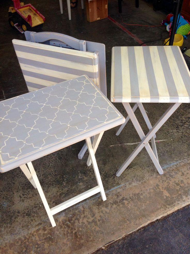 Folding dinner tv trays... Pinterest inspiration #shabbypaints #lilliangray #wornwhite Follow Grace Love Vintage on Facebook #chalkacrylic #chalkpaint #vax