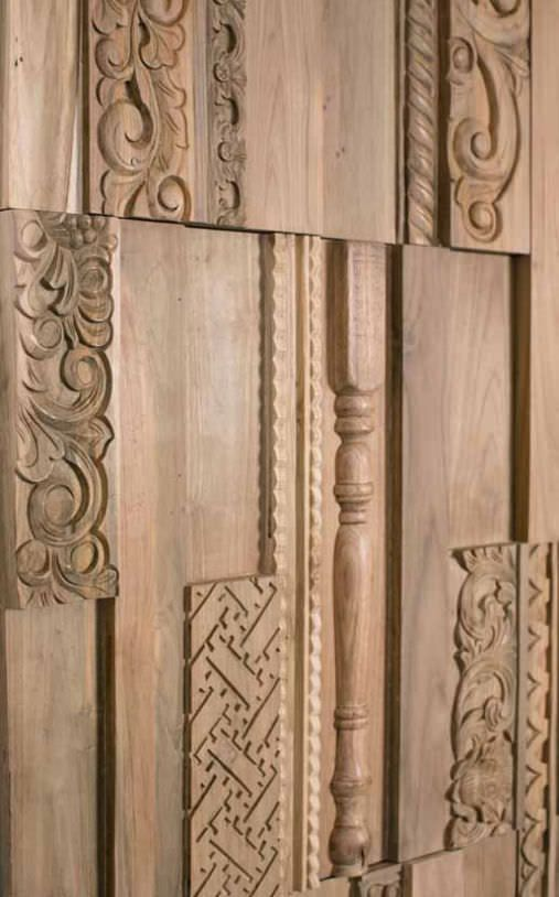 Wall-mounted decorative panel / wood / textured / solid - PX TEAK RECLAIMED NATURAL BROWN COVERING - Oscar Ono   Wood Manufacture