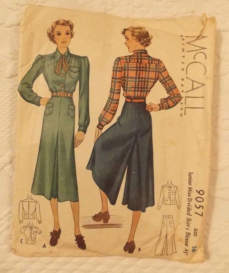 "As ""divided skirts"" de ""Temo ser muito antiquada"".  McCall 9057 |  1936 Junior Miss Divided Skirt & Blouse"