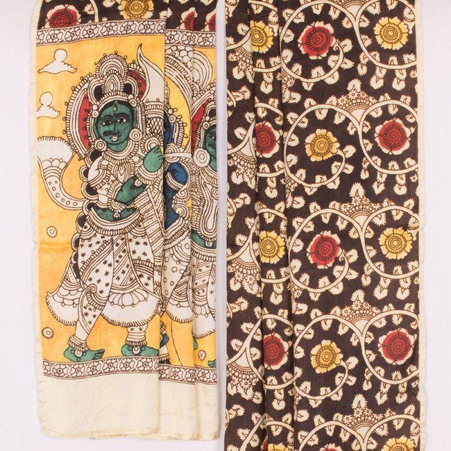 Hand Painted Brown Kalamkari Satin Silk Dupatta With Floral Motifs 10017019 - AVISHYA.COM