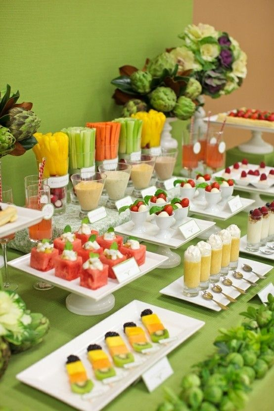 "I think this would be so cute to have for for one of the events of a wedding weekend (i.e. cocktail hour, or having this bar as the rehearsal ""luncheon"" or ""dinner"")...healthy and realistic portions is always a good look"