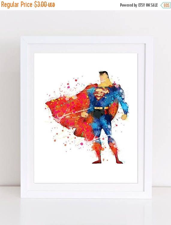 70%OFF Superman watercolor poster superman nursery kids decor