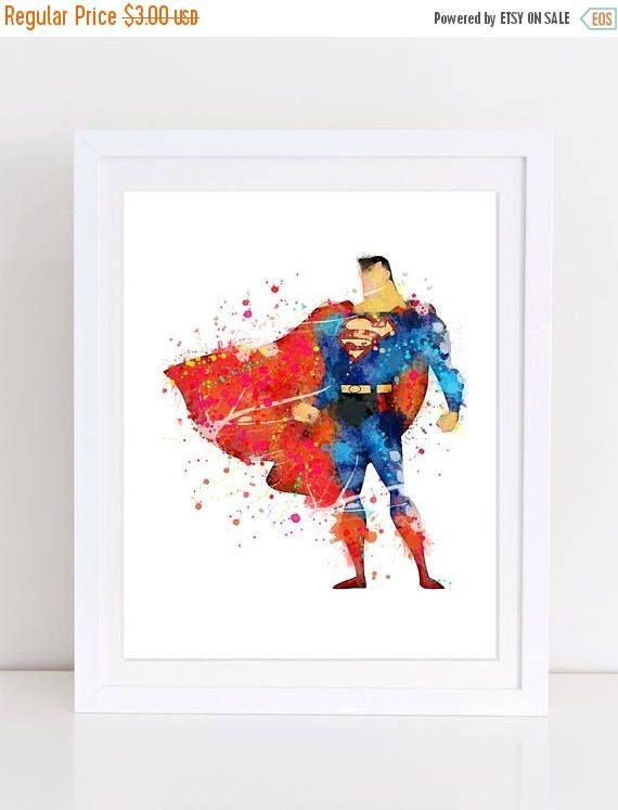 70%OFF Superman watercolor poster superman nursery kids decor