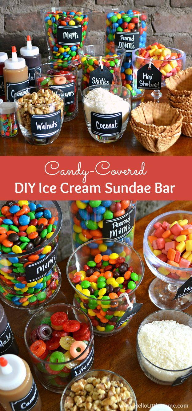 This Candy-Covered DIY Ice Cream Sundae Bar is an easy way to create summer time fun! | Hello Little Home #ShareFunshine #PartyIdea