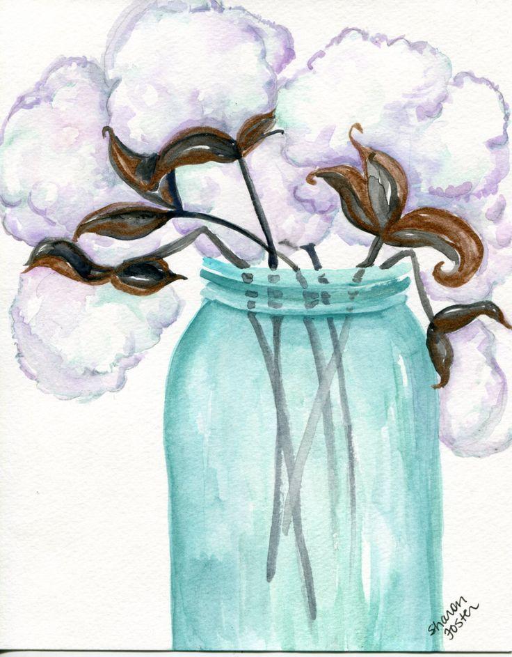 Cotton Bolls blue canning jar original watercolor painting, 8 x 10, cotton painting, cotton art, original painting of cotton bolls by SharonFosterArt on Etsy