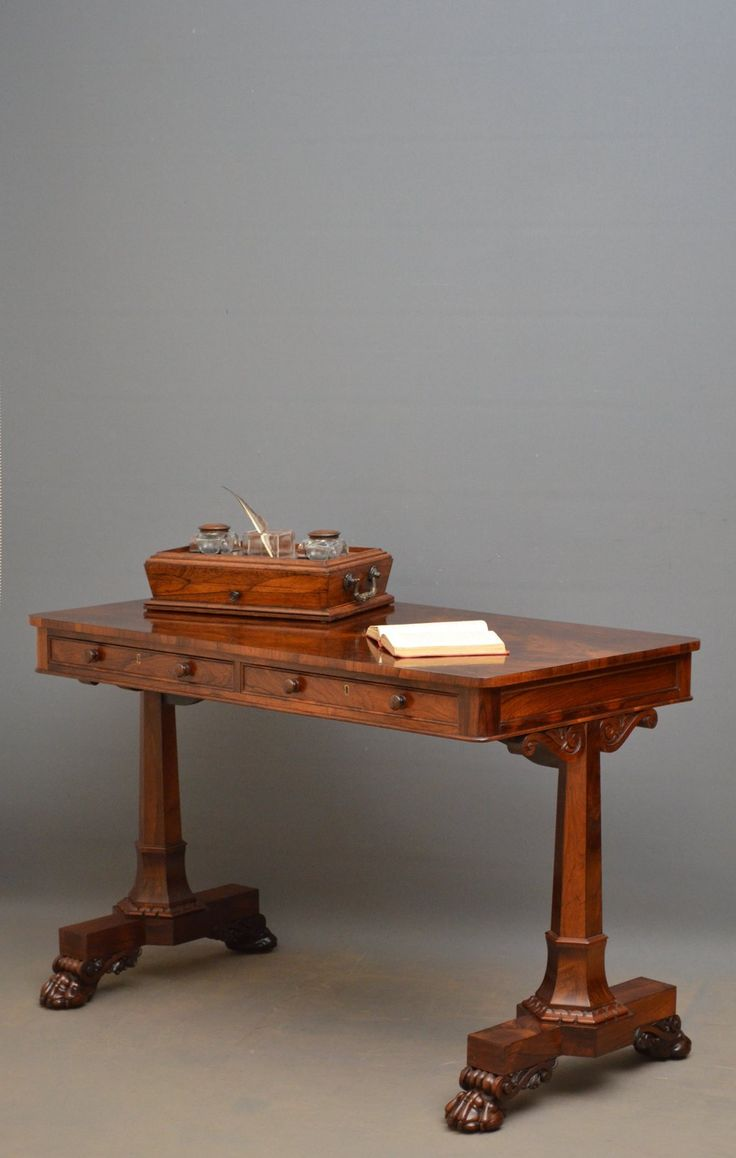 Spectacular Regency Rosewood Library Table - Antiques Atlas
