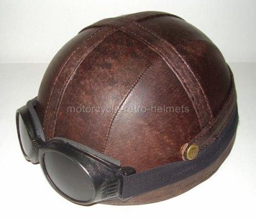 Motorcycle Helmet OUTRIDER Antique Real Leather WILD HOGS Goggles Brown Cult Chopper