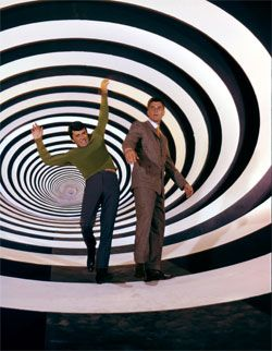 Time Tunnel.  Every time there was a stressful situation, they covered James Darren's face with water to be 'sweat'.