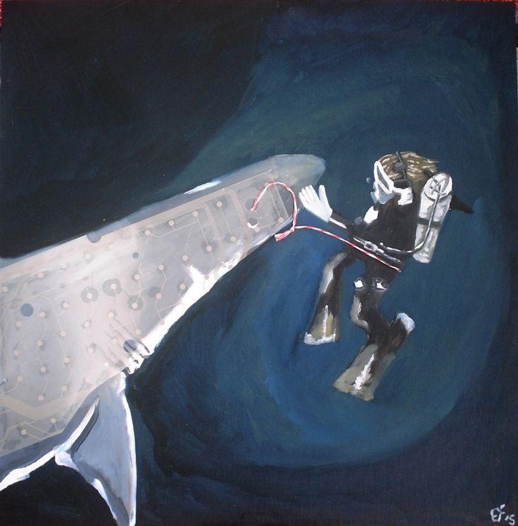 Meine eigene surrealistische Kunst: MYLITTLE PET SHARK. Zur Zeit in Angebot auf ebay.de unter: http://www.ebay.de/itm/EYF-ART-My-little-pet-shark-Ol-Objekt-MDF-Bild-Kunst-Surrealismus-Upcycling-/131878398000?hash=item1eb490a830:g:WlIAAOSwdqRXiMUs