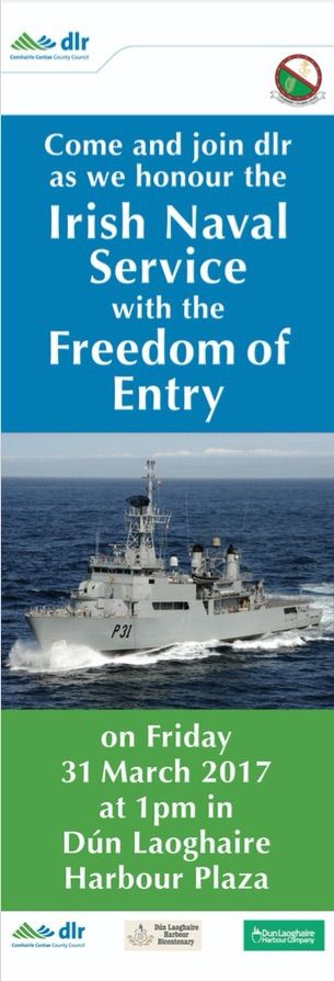 DLRCC Awards LÉ Eithne Honorary Freedom of Entry. Presentation of award to Irish Naval Service, 31 March. #DunLaoghaire #civicmedia2017