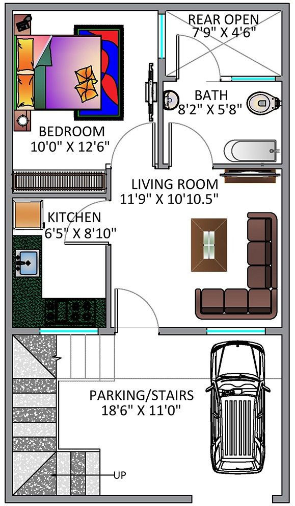 Ground Floor Plan For 20x35 Feet Plot 1 Bedroom House Plans 2bhk House Plan Bedroom House Plans
