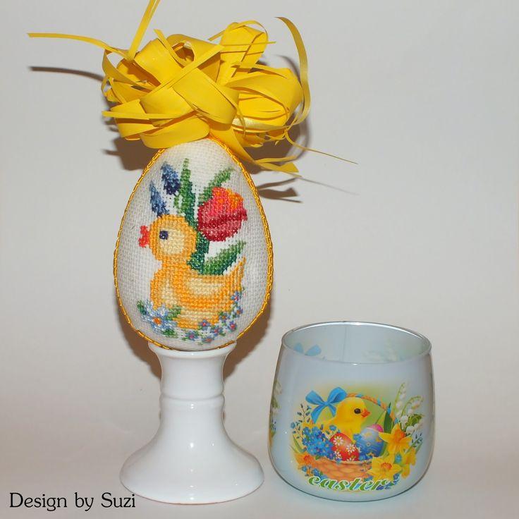 Polystyrene Easter Eggs - embossed patchwork #easter #easteregg #crossstitch