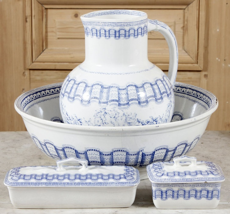Antique Blue Transferware Washstand Set (Circa 1900-1910) consisting of a pitcher, bowl, toothbrush holder and covered soap dish, this washstand set was just the ticket for getting cleaned up in the morning and would make a great functional addition to any bath #vintage #antique