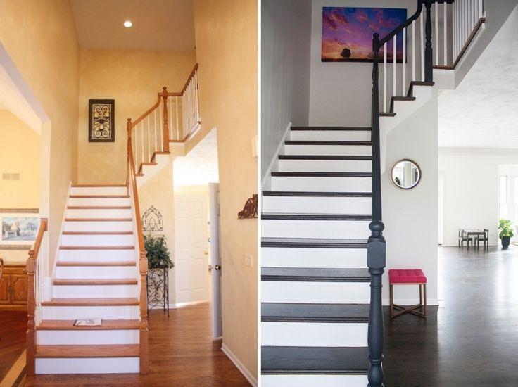 rénovation escalier et décorationen peinture blanche et noire, photos avant et après