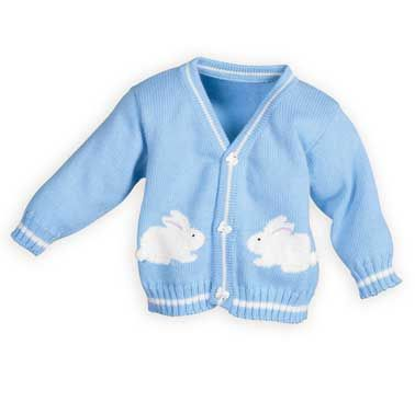 Blue Bunny Stripes Boys Sweater The Wooden Soldier Exclusive Adorable coordinating Easter outfits of white cotton oxford with blue stripes. Machine wash. USA made.