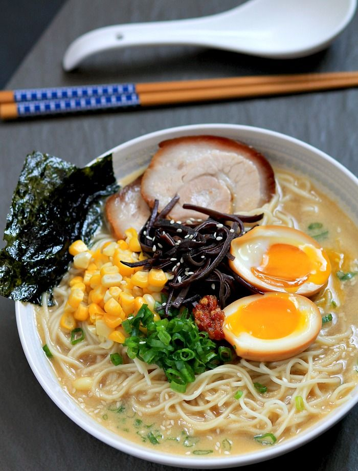 Tonkatsu Ramen with Chashu (Japanese Braised Pork Belly) and Ajitsuke Tamago (Marinated Soft-Boiled Egg)