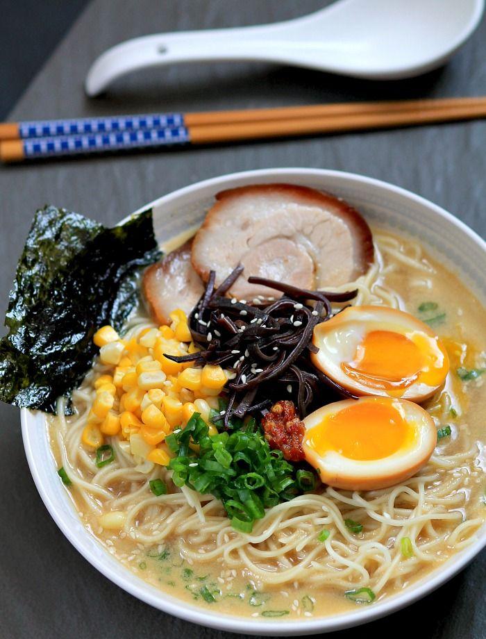 Tonkotsu Ramen with Chashu (Japanese Braised Pork Belly) and Ajitsuke Tamago (Marinated Soft-Boiled Egg)