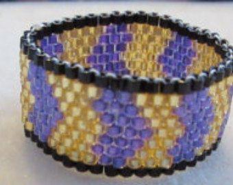 Peyote Seed Bead Ring Purple Flower Ring Daisy Ring by jerzeygems