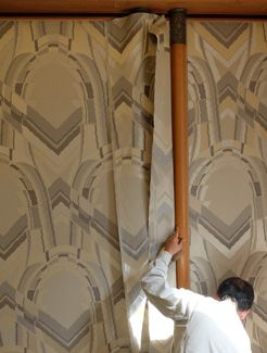 [Prince's Sitting Room] Hanging the restored wallpaper.