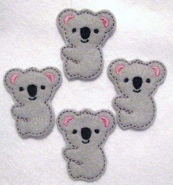 Cute Koala  Embroidered Felt Applique  Set of 4 by itsALLyourfelt, $3.75