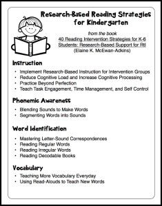 Research-Based Reading Strategies for Kindergarten. FREE printable.
