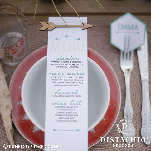 Bohemian menu & name card by www.pistachiodesigns.co.za