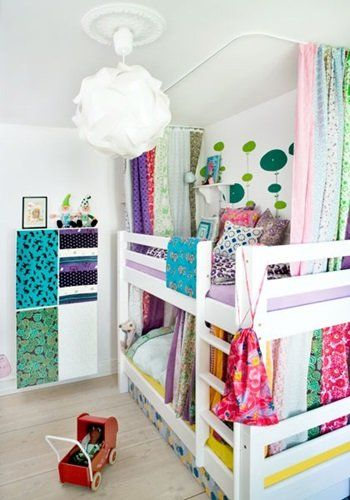 Strips Of Fabric Hanging To Enclose Bunk Beds Kiddos