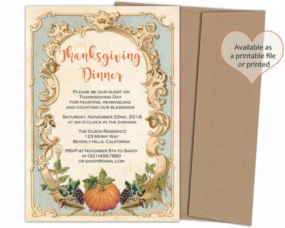 Thanksgiving invitation  Thanksgiving invites  by CupidDesigns