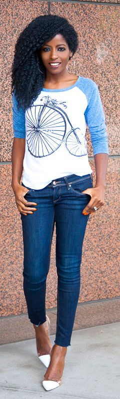 American Apparel Blue and White Printed Baseball Tshirt by Style Pantry