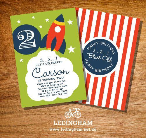 Rocket Birthday Party Invitations Personalised by LedinghamShop