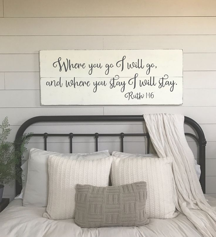 "Bedroom wall decor | Where you go I will go | wood signs | bedroom sign | master bedroom wall decor | 48"" x 18.5"""
