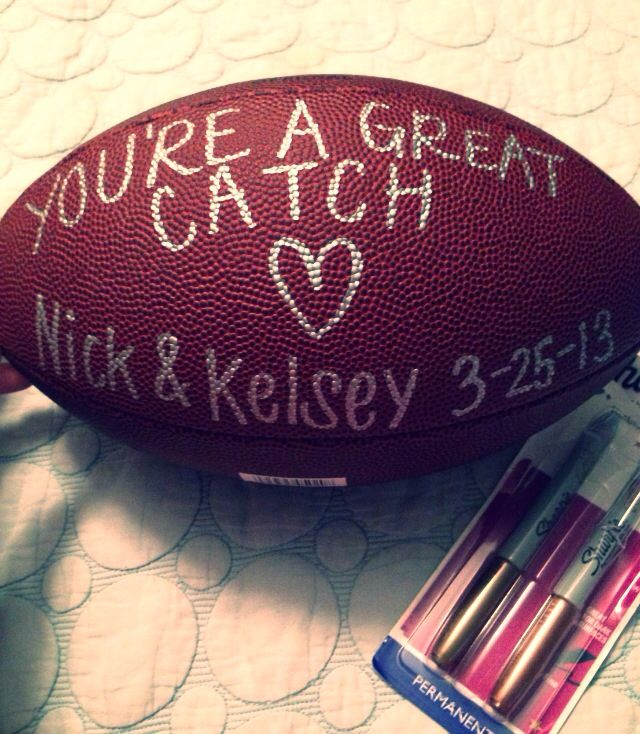 Birthday Present I Made For My Football Fanatic Boyfriend! Maybe I Could Do  Something With A Hockey Puck?