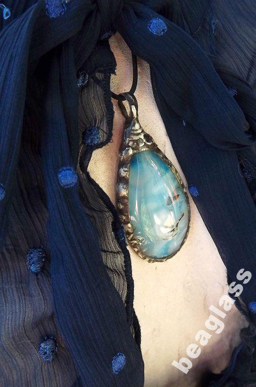 Błękitny agat - wisior w technice Tiffany