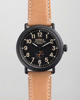 Shinola 47mm Runwell Men's Watch, Black/Tan - Neiman Marcus