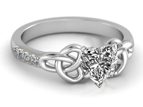 Engagement Ring - Heart Diamond Celtic Knot Engagement Ring in 14K White  Gold Band - ES1246HS