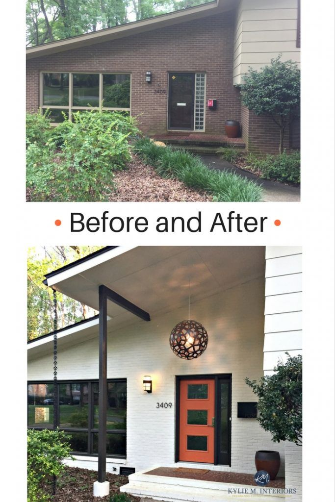 E-Design colour consultant Kylie M, creates a beautiful and after mid century modern entryway with exterior painted brick in Ballet White, orange front door and Willow trim colour by Benjamin Moore. Kylie M E-design and ONline color consulting