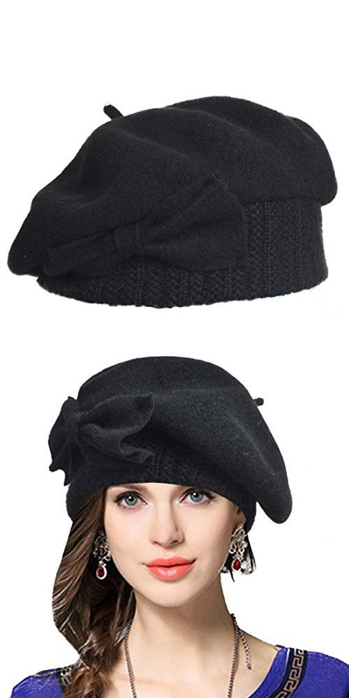 a5ea35471b8 Lady French Beret 100% Wool Beret Floral Dress Beanie Winter Hat (Bow-Black