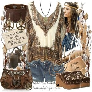 ☮ American Hippie Bohemian Style ~ Boho Summer Festival Outfit! ❤️all except the clogs lol