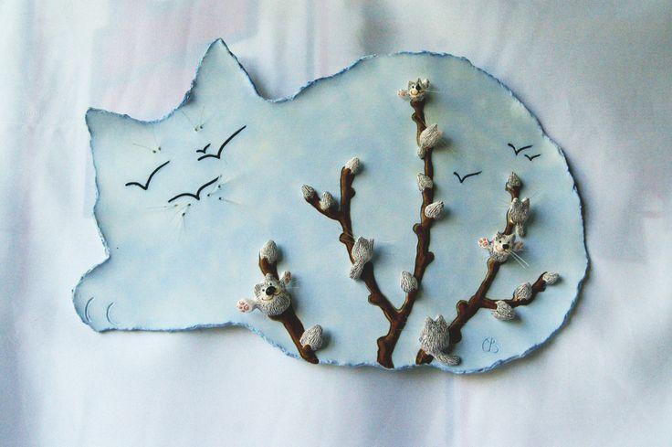 """автор : Светлана Виноградская; настенная картина; материал: керамика (фаянс); """"котики"""""""