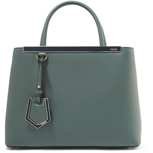 Fendi 2Jours Petite leather shopper (2'260 CHF) ❤ liked on Polyvore featuring bags, handbags, tote bags, bolsas, gray green, green leather tote, cross-body handbag, leather shopper totes, handbags totes and crossbody tote