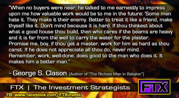 Great quotes on Finance and Investing! In this case from The Richest Man in Babylon.