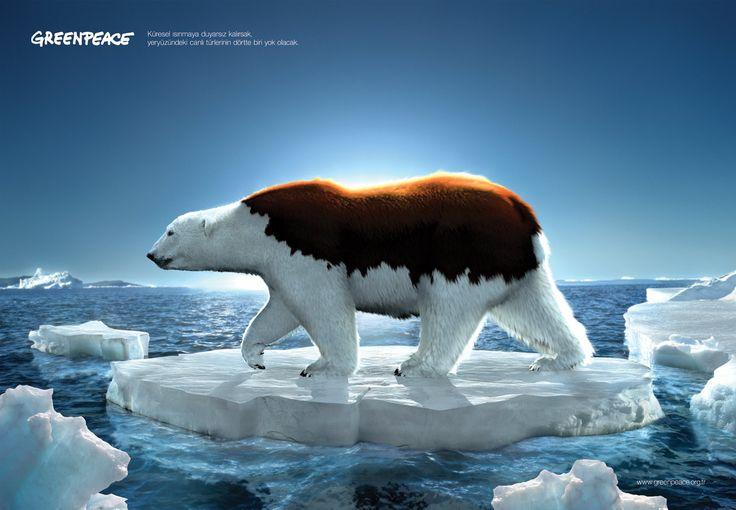 Cartaz parte de uma campanha de conscientização do GreenPeace sobre o aquecimento global e as consequências dele.