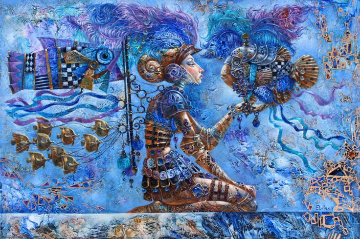 Spirit of Warrior - Painting,  91x61x4 cm ©2015 by Elvira Baranova -   …