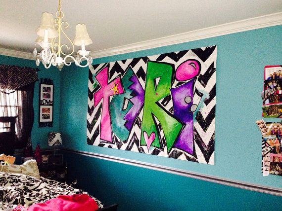 Large custom graffiti chevron personalized painting wall canvas bright colored for girls teen - Teenage wall art ideas ...
